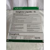 Placa De Sinalização Hospitalar Oxigênio Líquido O2