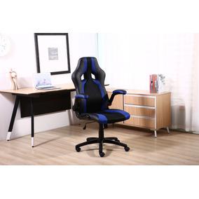 Cadeira Racing Gamer Almofadada Preta / Azul 8-106
