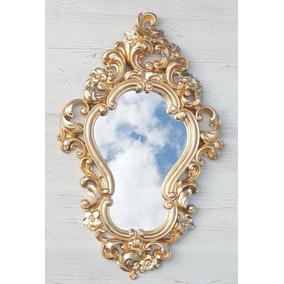 Espelho Decorativo Veneziano Floral Dourado Ouro