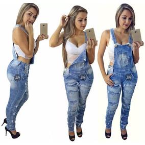 Jardineira Macacao Feminino Longo Com Lycra Calça Jeans!
