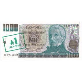 Billete 1.000 Pesos Arg. Resellado A 1 Austral De 1985 S/c