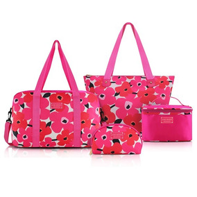 Conjunto De Bolsa Pink 4 Peças Jacki Design