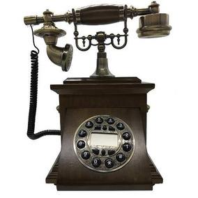 Telefone Antigo Retro Madeira Com Dourado Anos 50/60 Novo