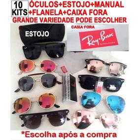 82f89010f5b29 Óculos 10kits Insp Rayban +case+flanela+certfl+cx Pp Atacado