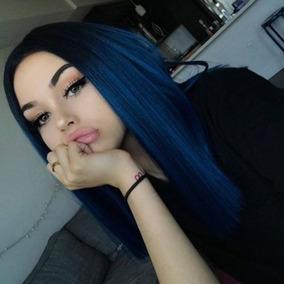 Mejor Ombre Azul Del Pelo Humano Del Cordón Peluca Delantera