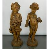 Antiguo Par Figuras Madera Tallada Querubines Estaciones