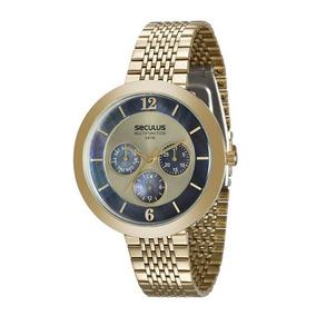 45f93fe39f4 Relogio Seculus Feminino Fundo Azul - Relógios no Mercado Livre Brasil