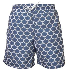 Shorts Mash Com Cordão Estampa Escamas Azul