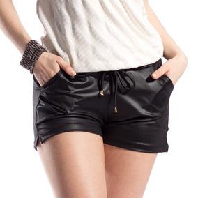 Shorts Feminino Cintura Alta Couro Bolso Cirre Hot Pants