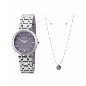 Kit Relógio Feminino Allora Com Colar E Brinco Al2035fr 4m - Joias e ... 2e210433f2