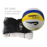 Kit: Rede De Volei 4 Faixas + Bola Voleibol Rainha Vl 6.5