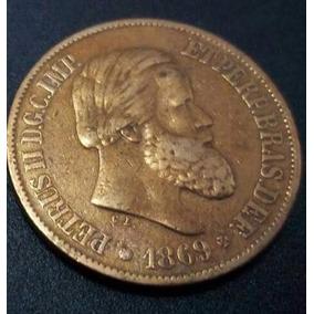 Linda Moeda De 20 Réis De Bronze Ano De 1869