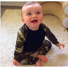 Roupa Bebê Conjunto Camuflagem Exército Menino Top Importado