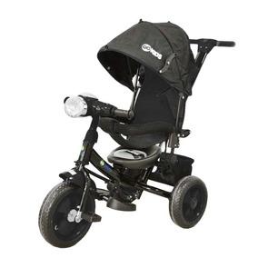 Triciclo 2 En 1 Toldo Y Empujador Negro Ws610r Go Kids