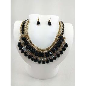 Collar Y Aretes Piedra Color Negro Y Transparente
