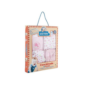 Coordinado 4 Piezas Baby Mink 0 A 3 Meses Rosa Y Azul