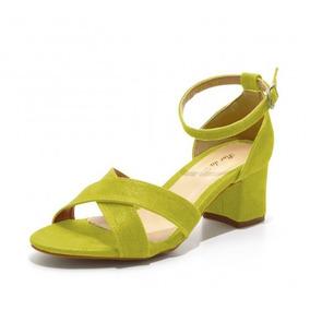 Sandália Trançada Salto Médio Em Camurçado Verde Oliva180600