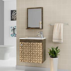Gabinete Armário Para Banheiro Com Pia Siena Madeira 3d