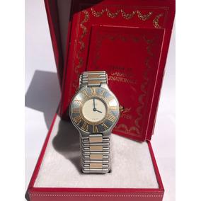 Reloj Cartier Must Siglo 21 Unisex Excelente Estado Oro Y Ac