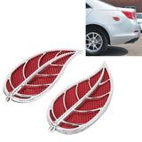 2 Pcs Forma Hoja Plastico Para Vehiculo Etiqueta Decorativa