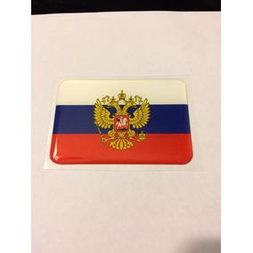 Adesivo Resinado Da Bandeira Da Rússia Com Brasão 9x6 Cm