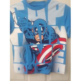 Playera Capitan America Marvel Original Para Niño