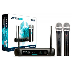 Microfone Duplo De Mão Vhf Vokal Vws 20 Plus Sem Fio