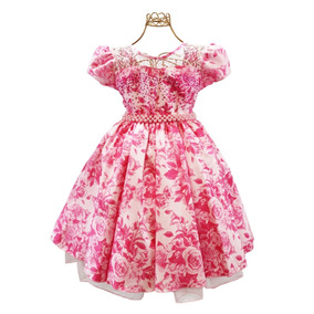 Vestido Infantil Festa Floral Daminha Moda Evangélica Frete