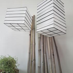 Lampara Papel Bambu Pantalla China 5 Pisos Natural Negro