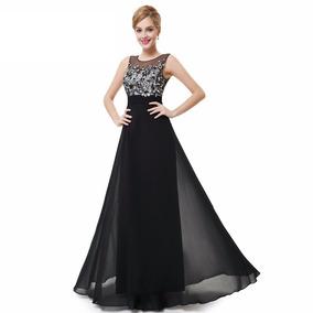 Vestidos de fiesta color negro con plateado