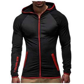 B.0h  Casaca Deportiva Gym Con Capucha Hoodie Fitness Polera 3d128a479cd