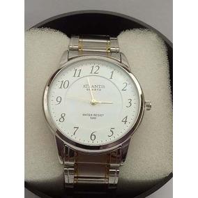 Relógio Atlantis Original Aço Prata Homem Social Barato Slim