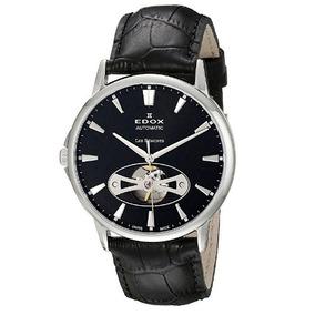 Relógio Edox Les Bemonts Preto couro Heart Automático Suíço 50a543fd1d