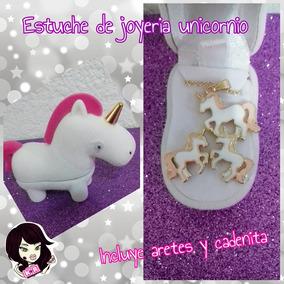 Estuche De Joyeria Unicornio Con Aretes Y Cadena