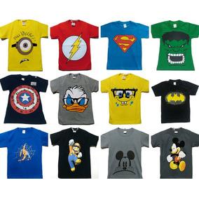 ef91877ec8 Camiseta Infantil Personagens Menino Kit 10 Peças