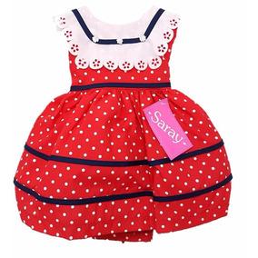 Vestido Rojo Ampon Algodon Bata Con Fondo Y Tul De 6 A 18