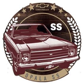 Placa Decorativa 35cm De Madeira Opala Chevrolet Gm