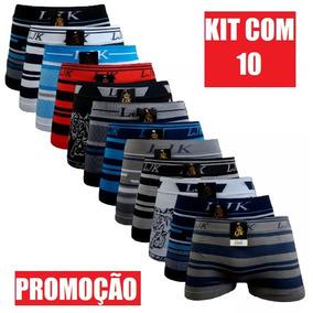 Kit C/10 Cueca Box Sem E C/ Estampa Men P/ Homem F Grátis