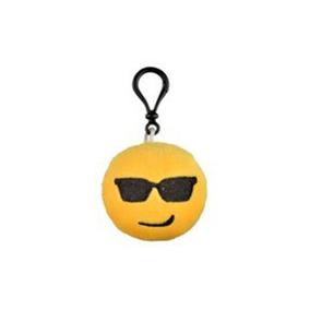 Chaveiro De Pelucia - 6 X 6 Cm - Emoji - Oculos Escuro