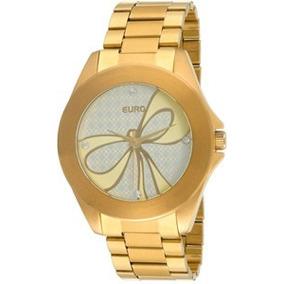 Relógio Euro Laço Dourado