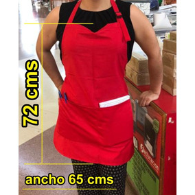 Mandil Rojo 10 Pzas 72x65 Cms Tela: Popelina