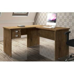 Mesa Para Escritório Em L Espaçosa Com 02 Gavetas 01 Chave