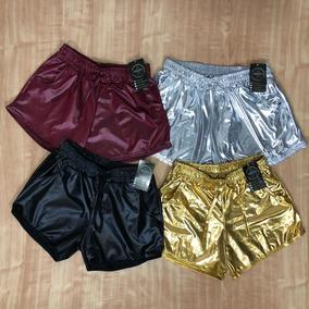 Kit Com 4 Shorts Boxer Metalizado Cirre Brilho Hot Pants
