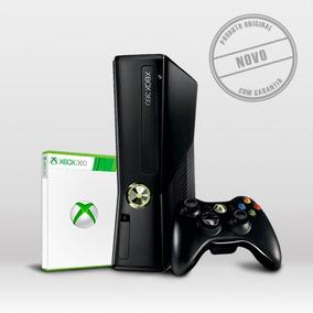 Xbox 360 Slim Com Controle + Jogo Novo, Na Caixa