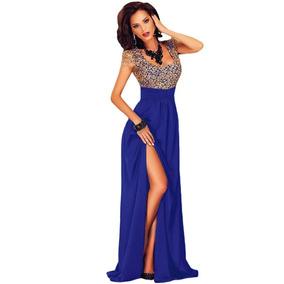 c6bee1f9a Vestido Largo Mujer Azul Fiesta Elegante Noche Sexy