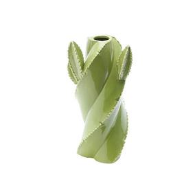 Vaso De Cerâmica Tipo Cactos 8,5x8,5x20cm Verde