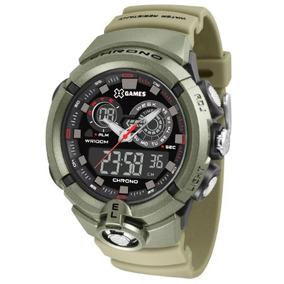 Relógio Masculino X-games Anadigi Verde Militar Xmppa242