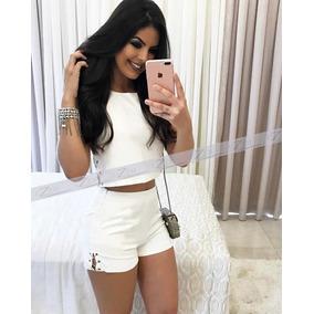 Conjunto Short E Cropped Feminino Moda Verão Blusa Camiseta