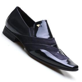 1868aac7b5 Sapato Social Camurca Masculino - Sapatos para Masculino Azul escuro ...