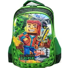 Mochila Escolar Infantil Menino Grande Mine Craft Verde 3625